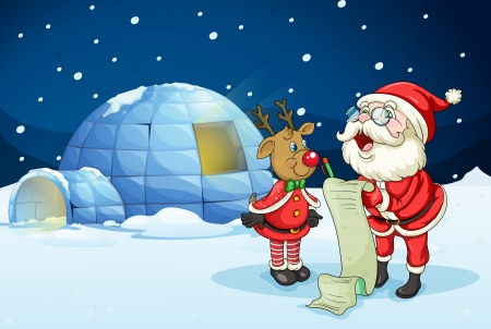 christmas list: llustration of santa claus and reindeer in night Illustration