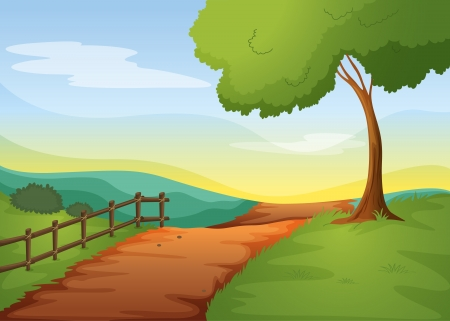 dirt road: illustration of a landcape in a beautiful nature Illustration