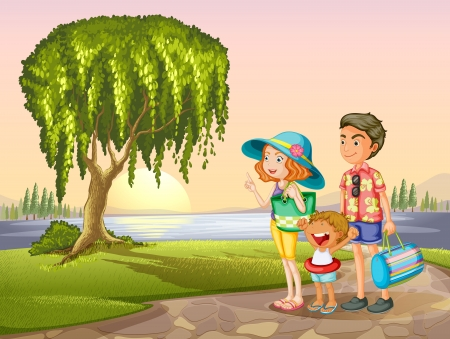 illustration of man, woman and kid standing around tree in a nature Vector