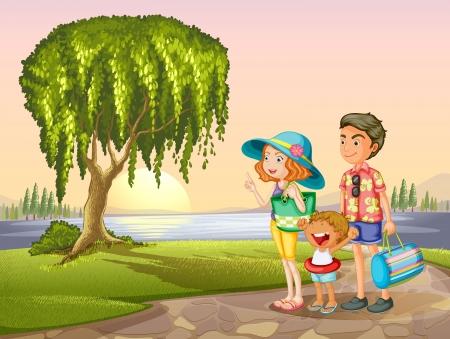 mums: ilustraci�n de hombre, mujer y ni�o de pie alrededor del �rbol en la naturaleza