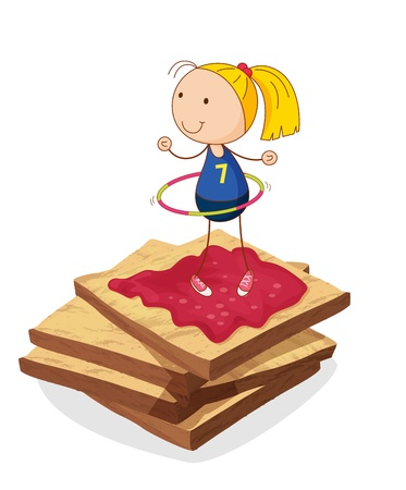 foodstuff: illustration of girl and bread on a white background