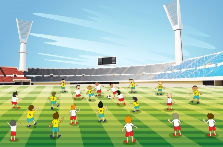kids football: illustration of boys playing football in a stadium Illustration
