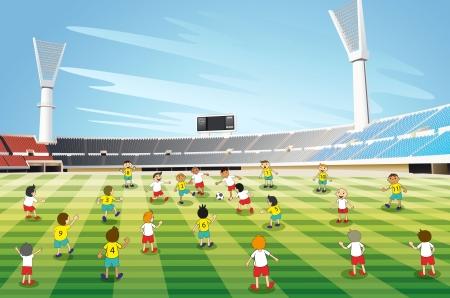 jugando al futbol: ilustraci�n de ni�os jugando al f�tbol en un estadio