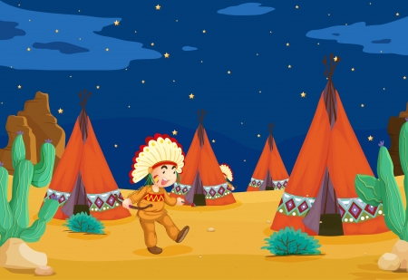 red indian: illustration of a tent house and a kid Illustration