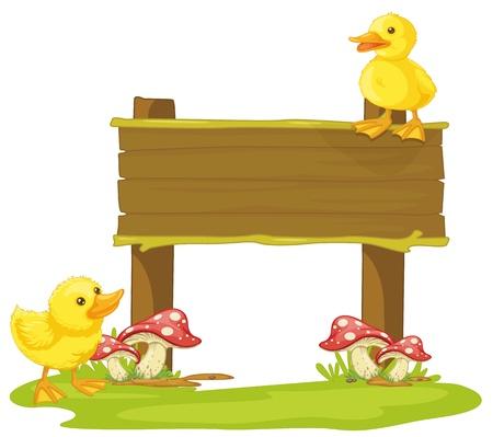 pollitos: ilustración de una tabla y pato en un fondo blanco Vectores