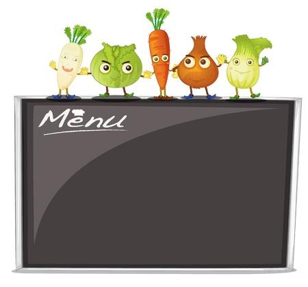 fruit stand: illustration of menu on black board on a white background Illustration