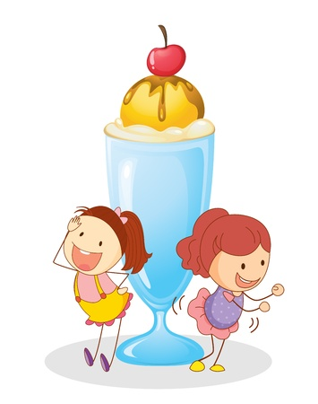 ice cream glass: illustration of girls and ice cream on a white background