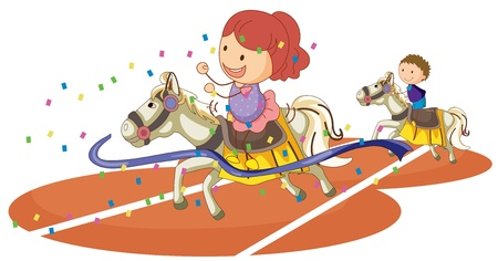 illustration of kids and horse on a white background Vector