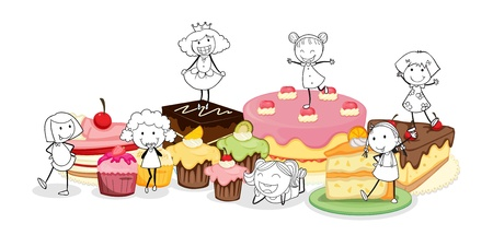 illustration of a various cakes and scetches of kids on a white background Vector