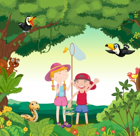 young girls nature: illustration of animals, birds and kids in a beautiful nature Illustration