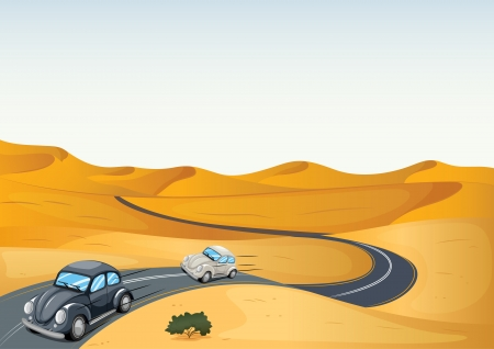 desert road: illustration of cars in a desert Illustration