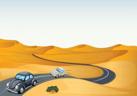 two roads: illustration of cars in a desert Illustration
