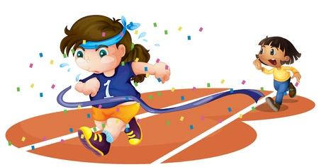running track: illustratie van meisjes op een circuit op een witte achtergrond
