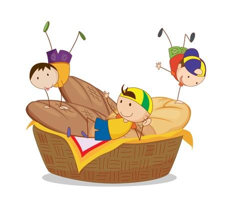 bread basket: illustration of kids and bread on a white background Illustration