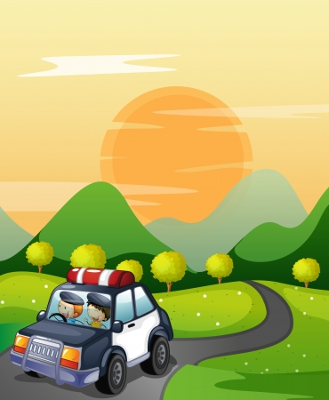 cartoon police officer: illustration of a car and road in a beautiful nature
