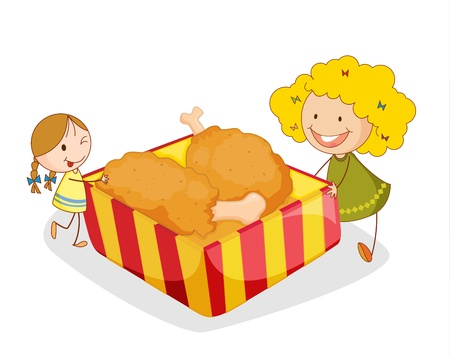 fried foods: illustration of girl and chicken on a white background
