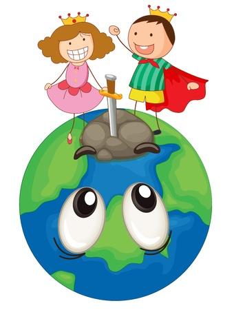 frau nach oben schauen: Illustration eines Kinder auf der Erde Planeten auf einem wei�en Hintergrund Illustration