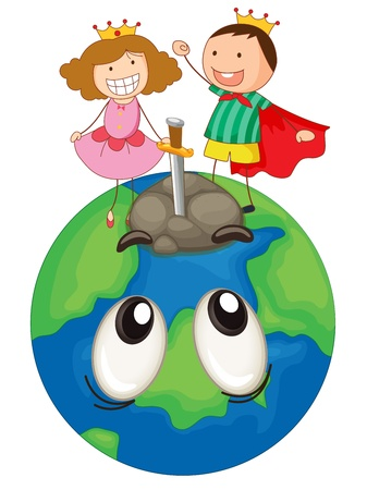 eyes looking up: illustration of a kids on earth planet on a white background
