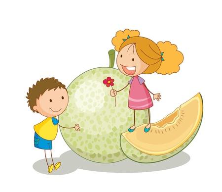 kid eat: illustrazione di bambini e frutta verdura su uno sfondo bianco