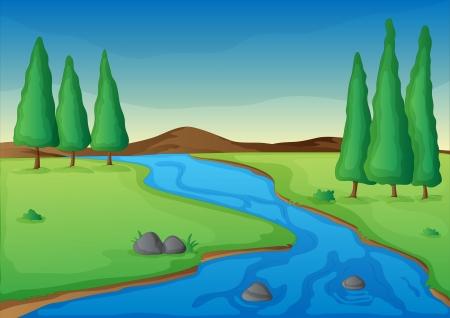 ilustración de un río en una hermosa naturaleza Ilustración de vector