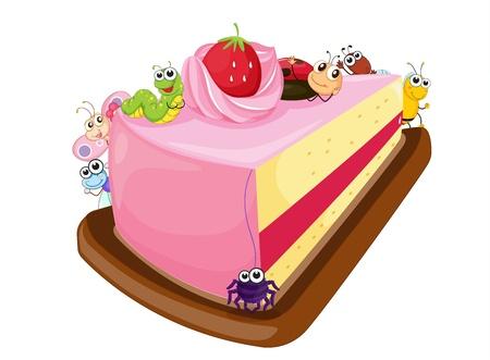 porcion de pastel: Ilustración de la torta y diferentes insectos en un fondo blanco