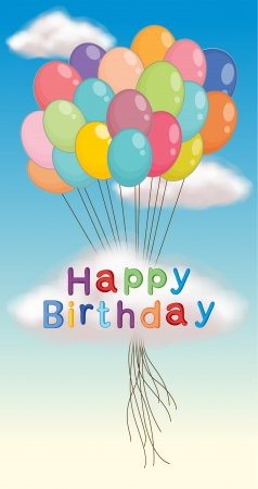 illustration of happy birthday poster and balloons Vector