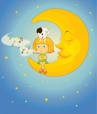 illustration of a girl, dog and moon in night sky Vector