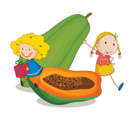 children eating fruit: illustration of girls and papaya on a white background Illustration