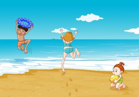 niñas jugando: ilustración de los niños en la costa de una hermosa naturaleza