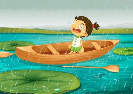 rain cartoon: illustration of girl and boat in a beautiful nature Illustration