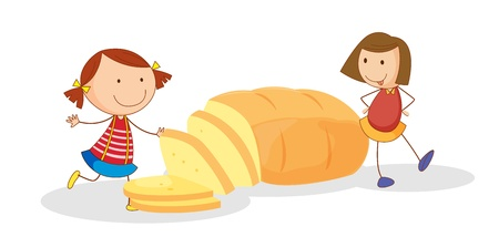 healthy woman white background: illustration of girls and bread on a white background
