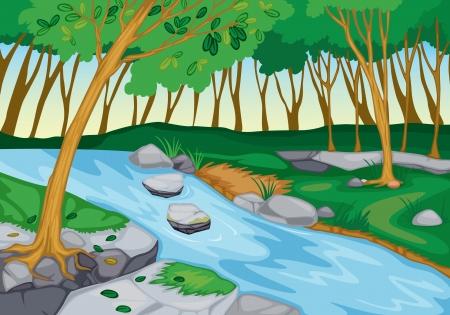 ilustración de río que fluye en la hermosa naturaleza