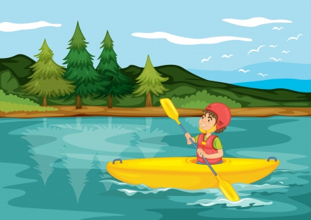 life jackets: illustration of a boy sailing in boat in nature