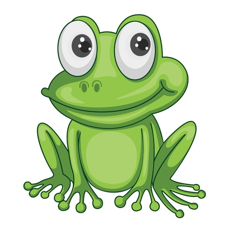 cute clipart: illustration of green frog on a white background