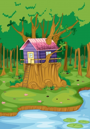 road closed: illustration of beautiful tree house in nature