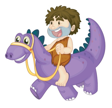 illustration of a boy riding on dinosaur on a white Vector