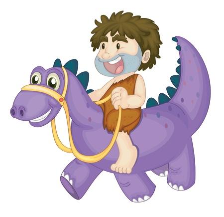 cueva: ilustración de un niño montando en dinosaurio sobre un fondo blanco Vectores
