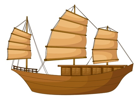 junk boat: illustration of full rigged ship on a white background