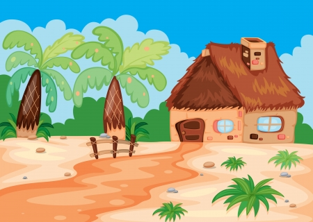 illustration of a hut in beatiful nature Vector