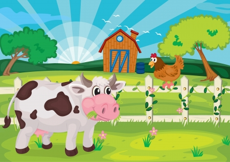 cows grazing: illustration of cow grazing in farm near farm house