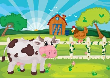 vaca: ilustraci�n de la vaca que pasta en la finca cerca de casa de la granja