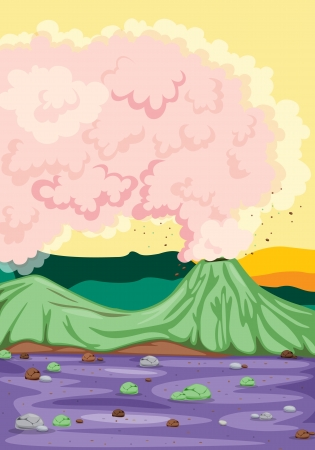 illustration of a volcano and hot pink magma Vector