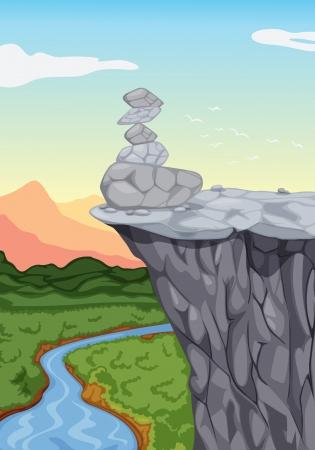 river rock: illustrazione di pietre sul bordo di montaggio