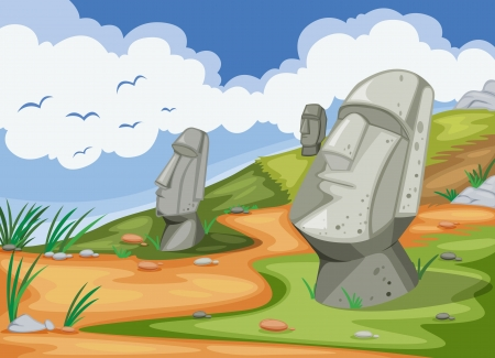 moai: ilustraci�n detallada de la escultura humana en la naturaleza