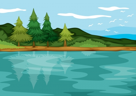detailed illustration of a beautiful landcape and bank Vector