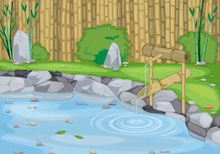 river bank: detailed illustration of a lake and bamboo wall