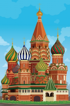 moscow churches: illustration of a decorative and colorful church building