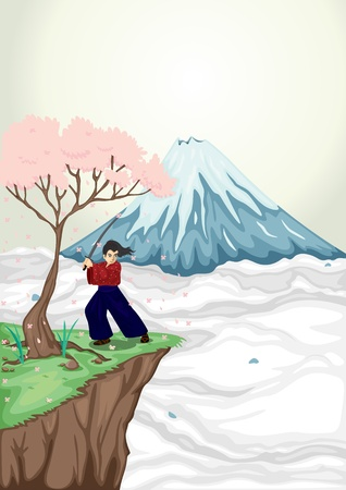 fuji mountain: illustration of volcano mouth and japanese boy Illustration