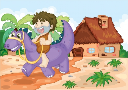 illustration of a boy riding on dinosaur in front of hut Vector
