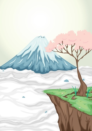 fuji mountain: illustration of volcano mouth and a tree Illustration